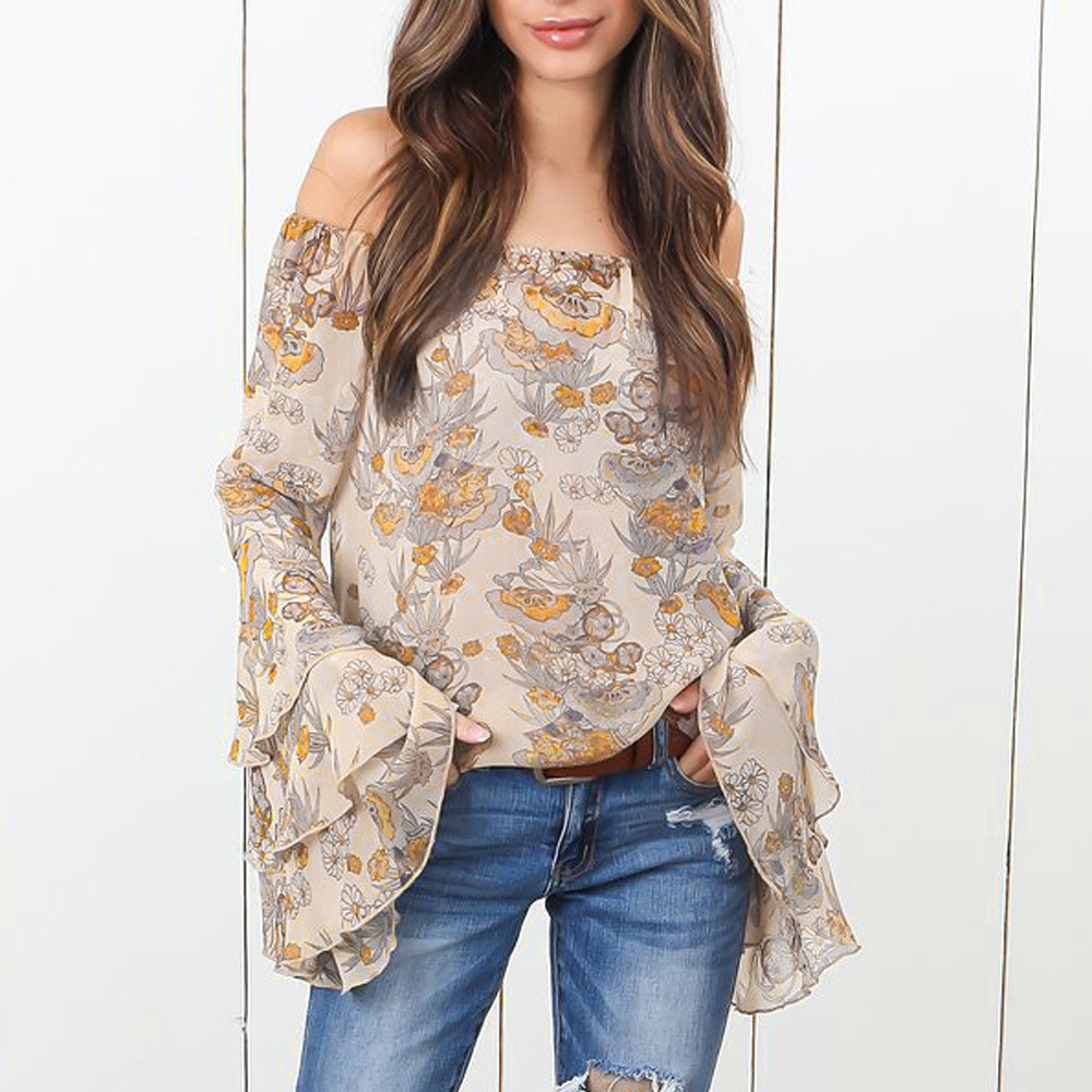 3d25b9e7eab26f Aliexpress.com   Buy 2018 New Arrival Autumn Fashion Womens Polyester Slash  Neck Off Shoulder Print Flare Sleeve Shirt Tops High Quality  30 from  Reliable ...