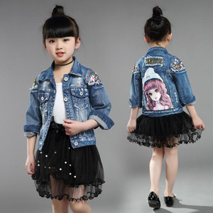 Image 2 - Baby Girls Denim Jackets For Boys Jackets And Coats Children Jacket Spring Autumn Rose Embroidery Jeans Coat Children Outerwear