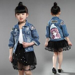 Image 2 - Dżinsowe kurtki dla dziewczynek dla chłopców kurtki i płaszcze kurtka dla dzieci wiosna jesień haft z różami dżinsy płaszcz dziecięca odzież wierzchnia