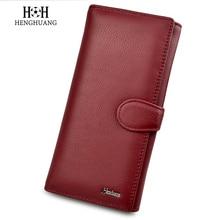 все цены на HH Women Long Wallet Fashion Solid Female Purse Phone Coin Pocket Designer Clutch Wallets Genuine Leather Ladies Card Holder онлайн
