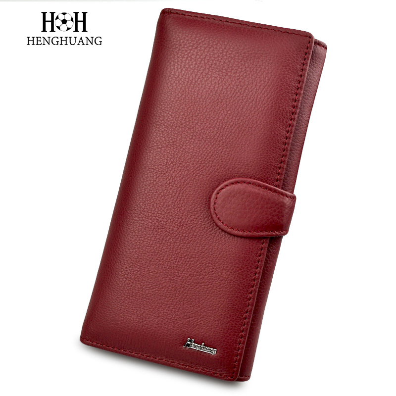 HH Women Wallet Genuine Leather 100% Cowhide Leather Wallets Soft Hasp Three Fold Large 2018 Capacity Women Wallets and Purses