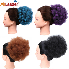 Alileader Black Curly Chignon Afro Naturel Hairpiece Bun Drawstring Puff Ponytail Extensions Synthetic Hair Blue Brown