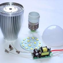 Алюминиевые лампочки E27 E14 3 Вт 5 Вт 7 Вт 9 Вт 12 Вт светодиодный корпус лампы комплект+ Драйвер+ 5730SMD PCB радиатор светодиодный Запчасти для ламп