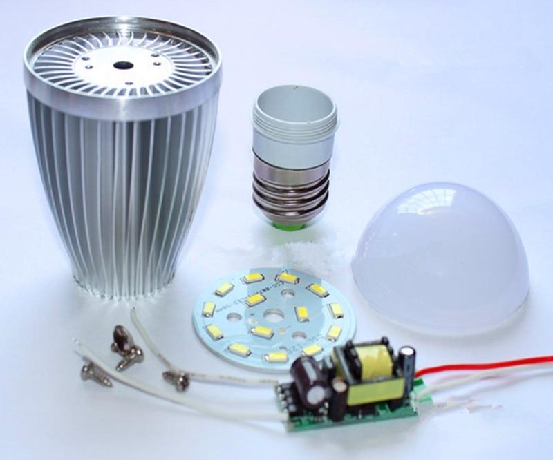 Aluminum Bulbs E27 E14 3w 5w 7w  9w 12w Led Bulb Shell Kit + Driver +5730SMD PCB Heatsink LED Parts For Bulb Lamps Improved