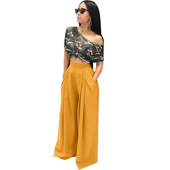 Women High Waist  Solid Streetwear Wide Leg Pants