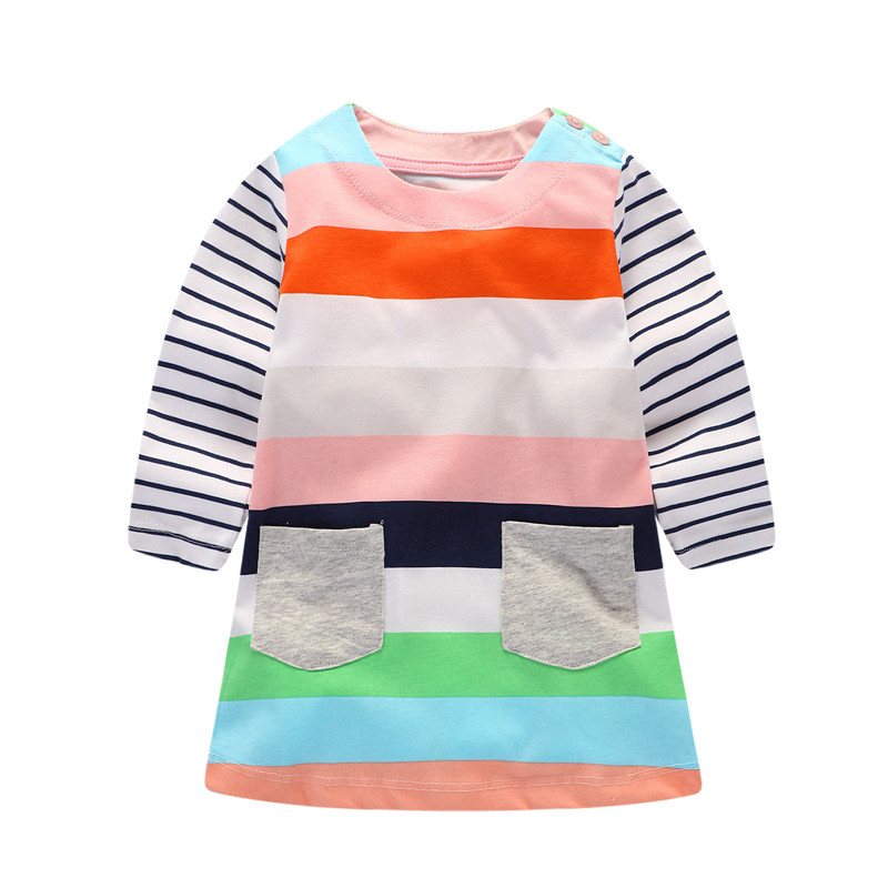 Fashion Girls autumn spring dresses striped cotton hot selling long sleeve children clothes pockets casual kids girl dress