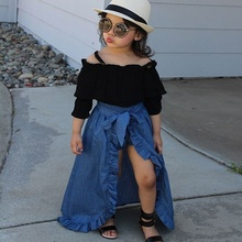 Kids Baby Girl Clothes Off Shoulder Tops+ Ruffle Denim Long Skirt+Denim Shorts Outfit Set bleach wash ruffle denim shorts