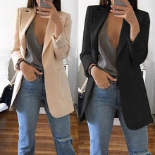 Women Casual Mid Trench Coat Solid Color Pockets Slim Cardig