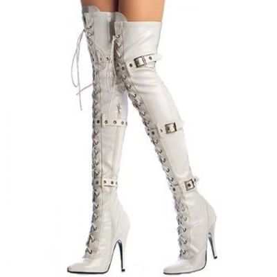 Women Whit Sexy Pointed Toe Over The Knee Boots Lace Up Metal Buckle Decoration High Thin Heel Long Boots Winter Female Shoes knee high women spring autumn boots sexy high heel leather boots pointed toe buckle decoration designer boots wine white shoes