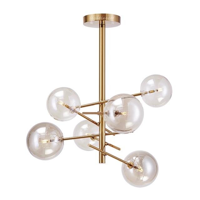 6 Head Modern Cognac Glass Ball Chandelier Light G4 Bulb Gold Body Luxury Hanging Lighting Living