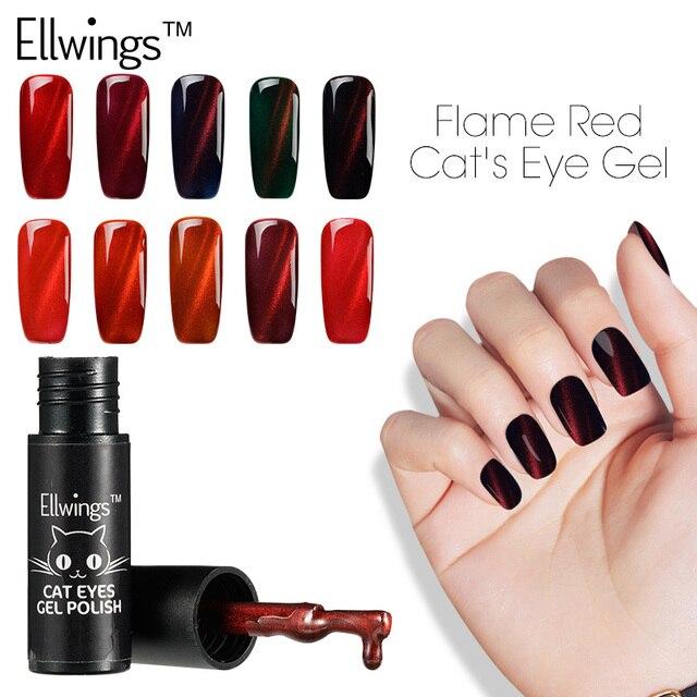 Ellwings Esmalte de Uñas de Gel UV 3D Llama Roja Del Ojo de Gato 12 ...
