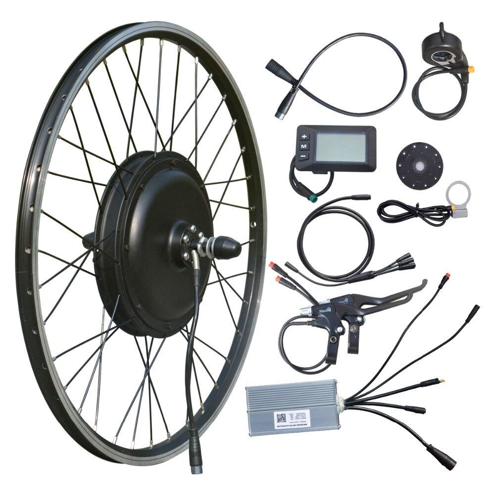 Vtuvia 26 ''pouces roue électrique kit de conversion de vélo étanche à l'eau 48 V 1000 W moyeu arrière sans brosse moteur E kit de vélo avec écran LCD