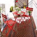 Lanskaya Ocio Muebles de Jardín Balcón de Hierro Conjunto de Metal Al Aire Libre Mesas Plegables Y Sillas de Tres Conjuntos De Muebles Del Patio