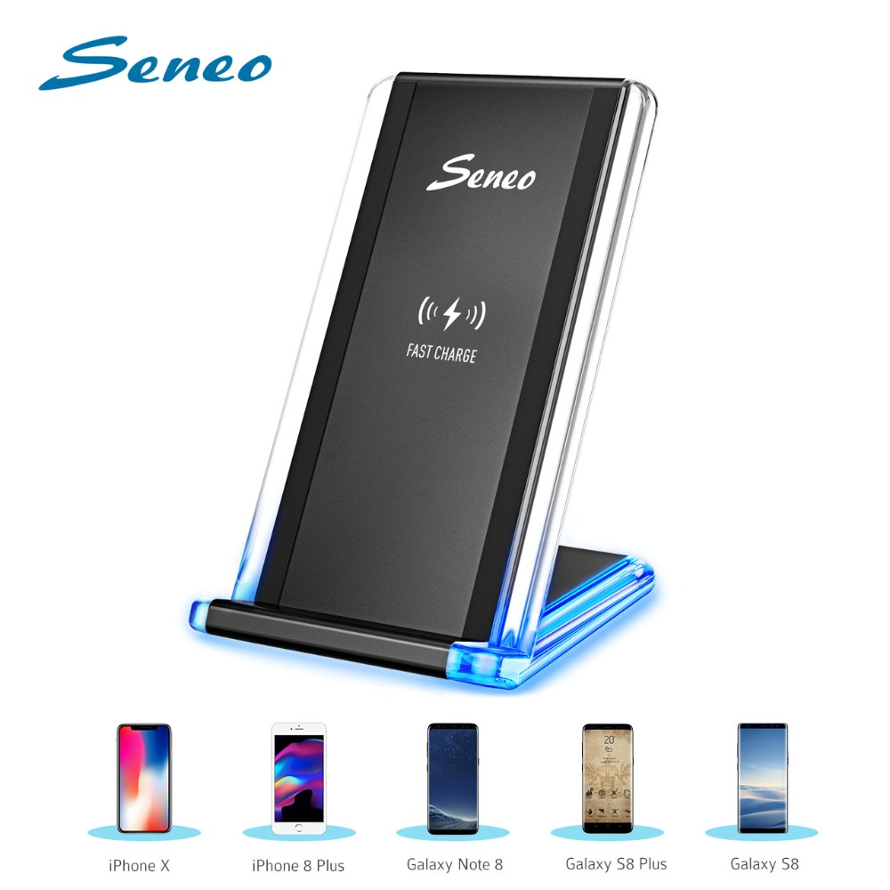 Seneo Qi Wireless Charging Stand Fast Charger Qi Stand Phone Charger For Xiaomi IPhone XS MAX/XS/X/8 Huawei Mate 20 Pro Samsung