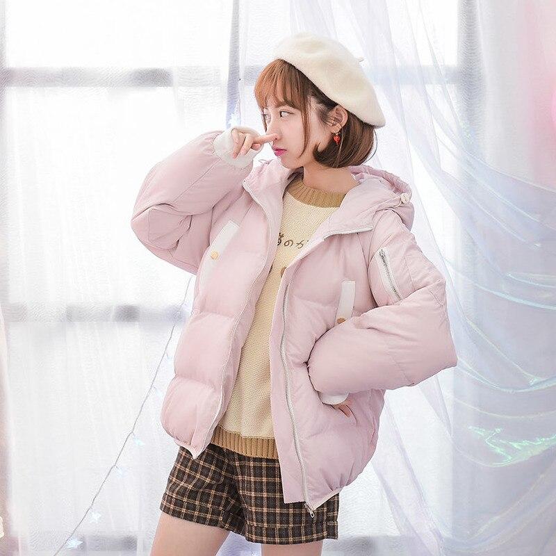 Mori Girl 2016 Winter Women Short Down Clothes Coat Hooded Long Sleeve Loose Warm Fashion Down