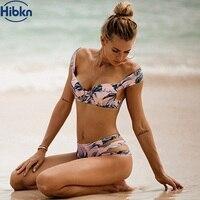 HBKN Push Up Bikinis Set Off Shoulder Swimsuit Bandage Monokini Print Brazilian Biquini Micro Bikini May