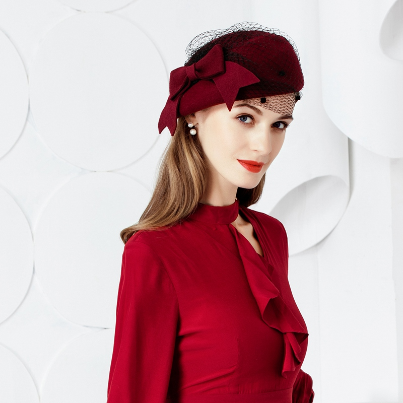 New Fashion Wool Hat Women Vintage Red Ladies Wool Felt Winter Fascinator Pillbox Hats Fedoras with Bow Church Hats B-7437