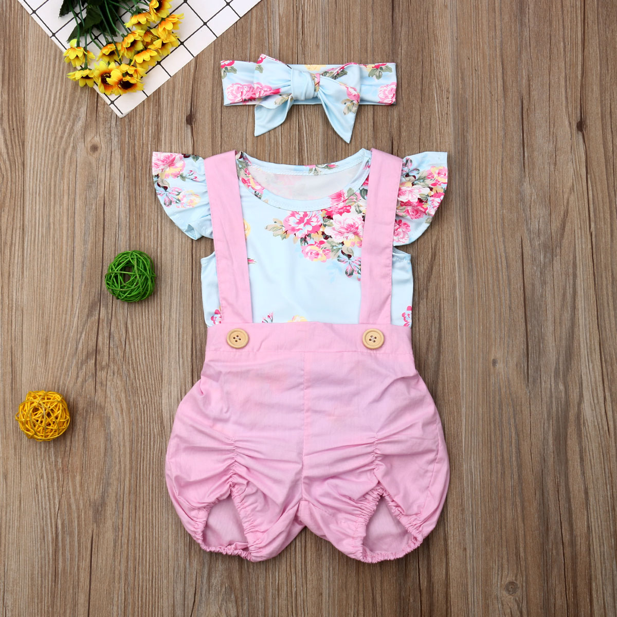 Pudcoco Summer Newborn Baby Girl Clothes Fly Sleeve Flower Print Romper Strap Short Pants 2Pcs Outfits Summer Clothes