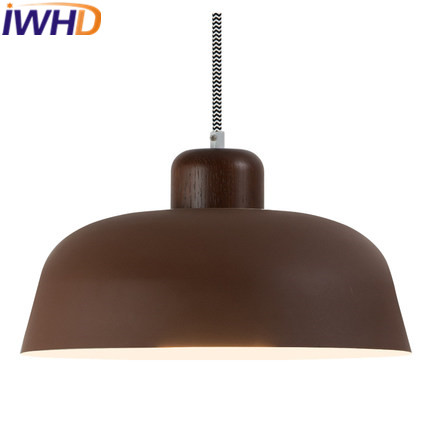IWHD Iron LED Pendant Lamp Modern Bedroom Living Room Wood Hanging Lights Single Color Hanglamp Luminaire Indoor LightingIWHD Iron LED Pendant Lamp Modern Bedroom Living Room Wood Hanging Lights Single Color Hanglamp Luminaire Indoor Lighting