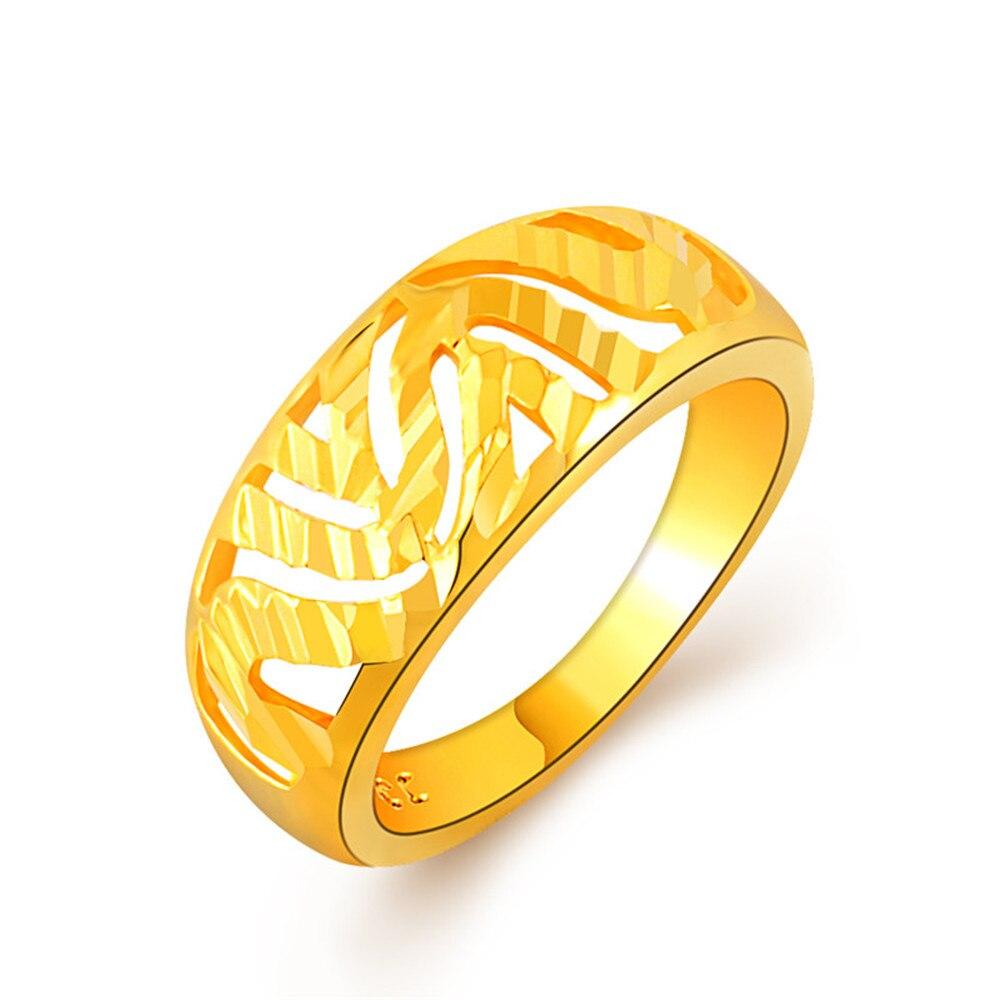 Высокое качество желтого золота Цвет Fine Jewelry кольца для девочек полые Bling большое кольцо вечный обещание моды обручальные Для женщин