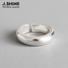 JShine Real S990 Sterling Silver Smooth Open Finger Rings for Men and Women Solid Fine Jewelry Minimalism Engagement Ring