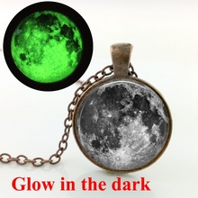 HZShinling Glowing Moon Necklace Full Moon Necklace Round Glass Pendant Glow Galaxy Jewelry Space Glow In the dark Necklace