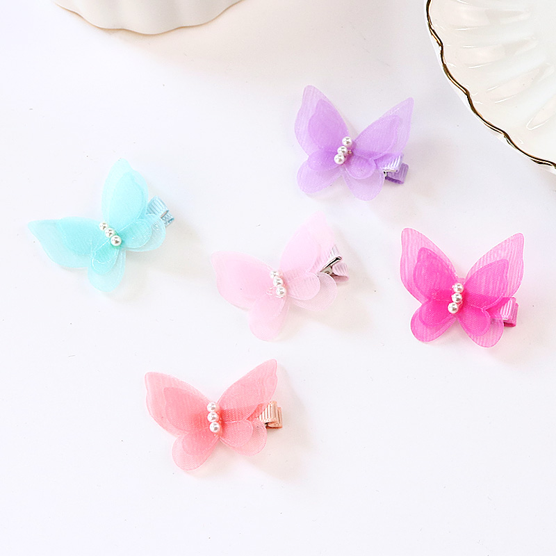 Baby Girls Cute Colorful Chiffon Butterfly Pearl Hairpins Kids Safety Barrettes Headbands Hair Clips Children Hair Accessories 10pcs lot new high quality thick little girls hair clips kids colorful solid barrettes children safety hairpins hair accessories