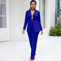 2018 Autumn Sexy 2 piece Clothing Pant Suits Formal Ladies Office Women elegant Business Work Wear Tunic Casual Trousers Sets