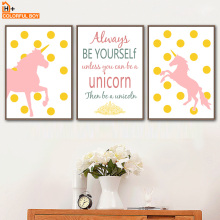 Pink Unicorn Quotes Wall Art Canvas Painting Nordic Posters And Prints Animals Canvas Art Wall Pictures For Baby Kids Room Decor beautiful peacock feather minimalist nordic posters and prints wall art canvas painting wall pictures baby kids room home decor