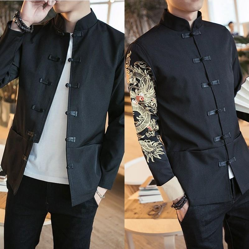 Men's Spring Retro Zhongshan Dress Set Leisure Youth Vertical Collar Small Suit Korean Version Slimming Buckle Tang Coat