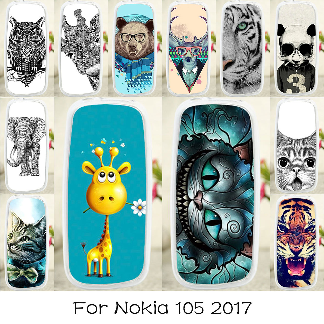 TAOYUNXI Soft TPU <font><b>Case</b></font> For <font><b>Nokia</b></font> <font><b>105</b></font> <font><b>2017</b></font> <font><b>Case</b></font> DIY Dirt-resistant TA-1010 Cover For <font><b>Nokia</b></font> <font><b>105</b></font> <font><b>2017</b></font> <font><b>Cases</b></font> Silicone Cat Animal image
