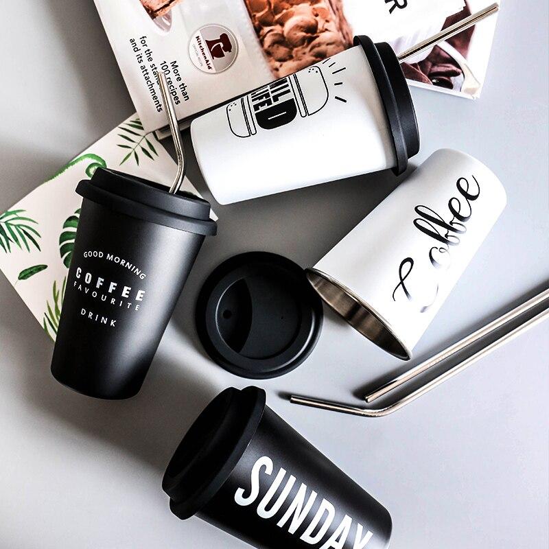Tazas de silicona de acero inoxidable blanco negro taza de mano con tapa de paja taza de té leche tazas hogar Oficina escuela creativa regalo nórdico 1 unids