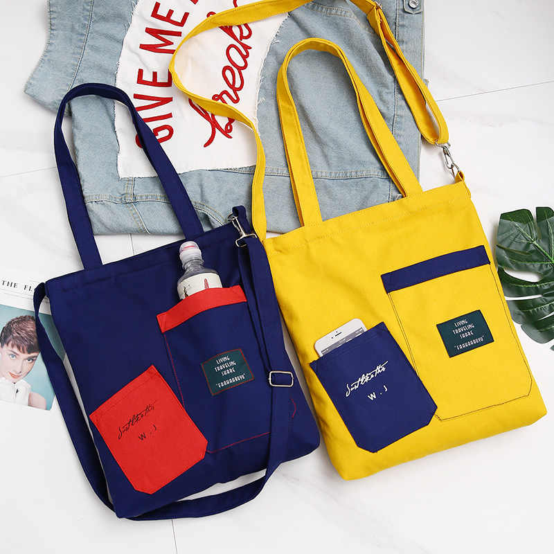 Hazy Beauty Canvas Tote Casual Beach Bags Large Capacity Foldable Grocery Bags Casual Letter Ladies One Shoulder Tote Bags Black