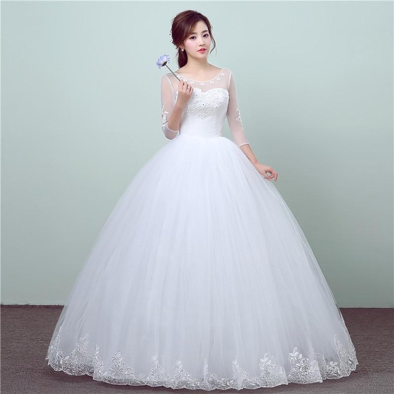 New Fashion Simple Lace Three Quarter Sleeve Wedding Dress Sweet Elegant Floral Print Vestido De Noiva Bride Gown Cheap In China