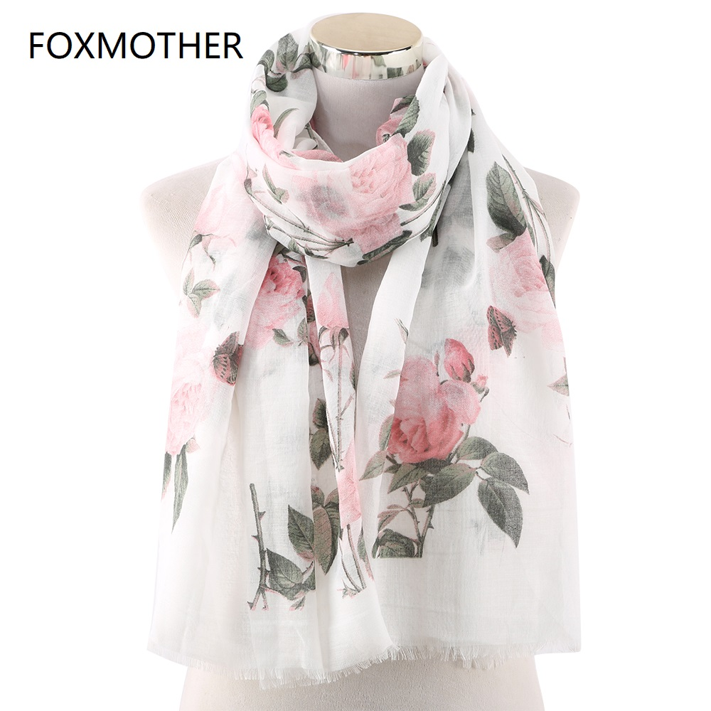 FOXMOTHER 2019 New Fashion Spring White Pink Mint Color Rose Flower Print Scarves Shawls Foulard Femme Floral Scarf Women