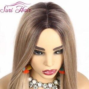 "Image 4 - Suri peluca larga recta pelo rubio dorado Ombre negro raíz pelucas sintéticas para mujeres Cosplay pelo envío gratis resistente al calor 30"""