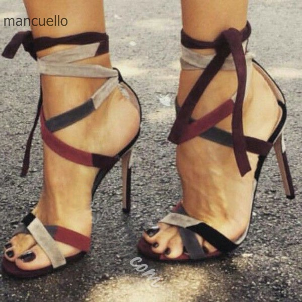все цены на Sexy Cross-Strap Suede Dress Shoes Women Stylish Color Block High Heels Lace Up Open Toes Stiletto Sandals Best Selling ThisYear онлайн