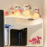 Современные Розовые розы цветы Светодиодная лампа прикроватная Лампы для мотоциклов объектив фар Европейский Ванная комната зеркало Фары