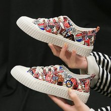 Women Hand Painted Canvas Shoes Female 2019 New Fashion Wild