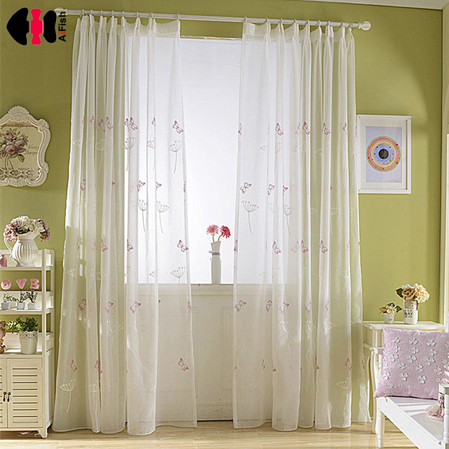 Hot S Decoration D Pink Erfly Sheer Window Curtains For Kids Bedroom Treatment Wp266z30