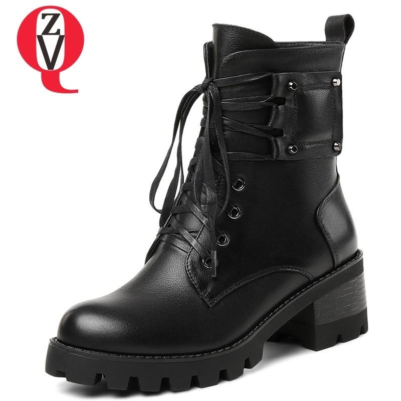 D'hiver Zvq Black forme Plate Bottines Rond Bout Talon Chaussures D'extérieur Carré Nouvelle Femmes Cm Cuir 6 Croix Bottes attaché En Véritable Pour Mode Zip tfFrqTfw