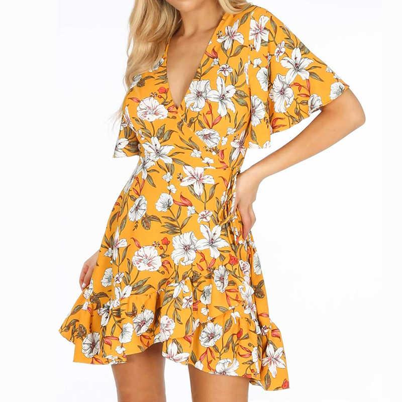 Женское платье, лето 2019, бохо, цветочный принт, пляжное платье, сексуальное, глубокий v-образный вырез, с запахом, мини, вечерние, элегантное, с оборками, короткий рукав, Халат