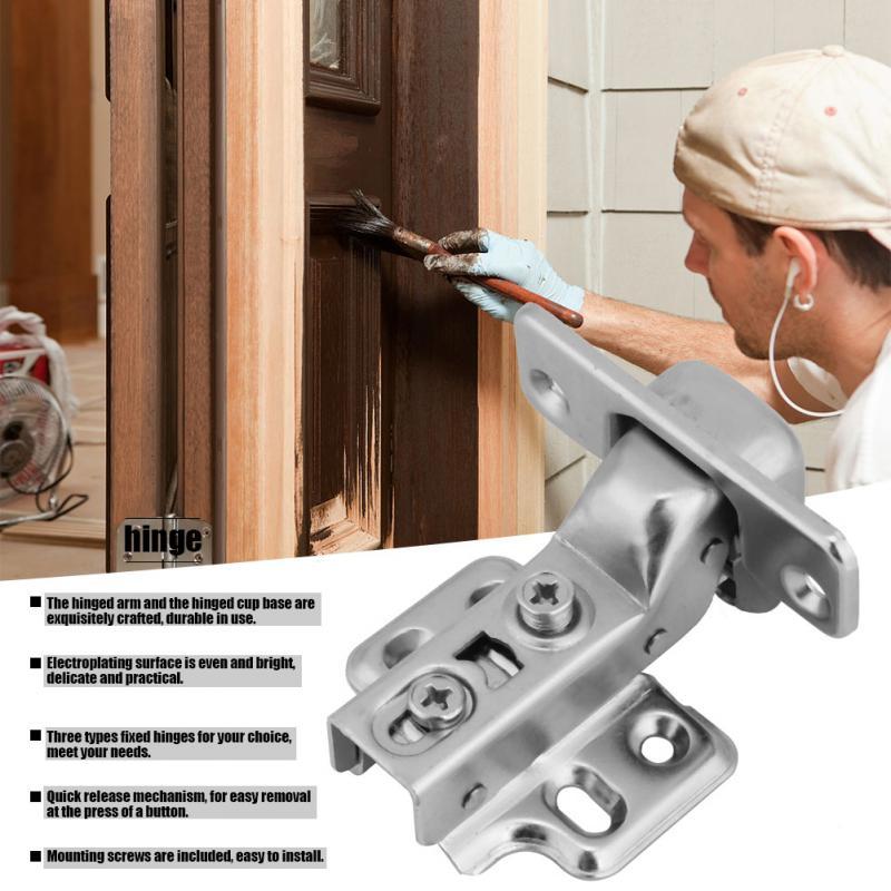 2Pcs Steel Door Hydraulic Hinges Damper Soft Buffer Close for Cabinet Cupboard door hinges deurscharnier Furniture Hardware in Door Hinges from Home Improvement