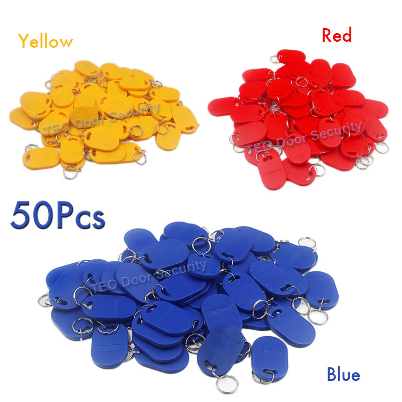 50Pcs RFID Keyfob 125Khz Proximity Key Fobs Chain RFID Tag Manufacturers for Construction use rf id Tag EM 4100/4102 Keychains dhl ems 5 pcs for key ence proximity sensor switch em 030 em030 d1