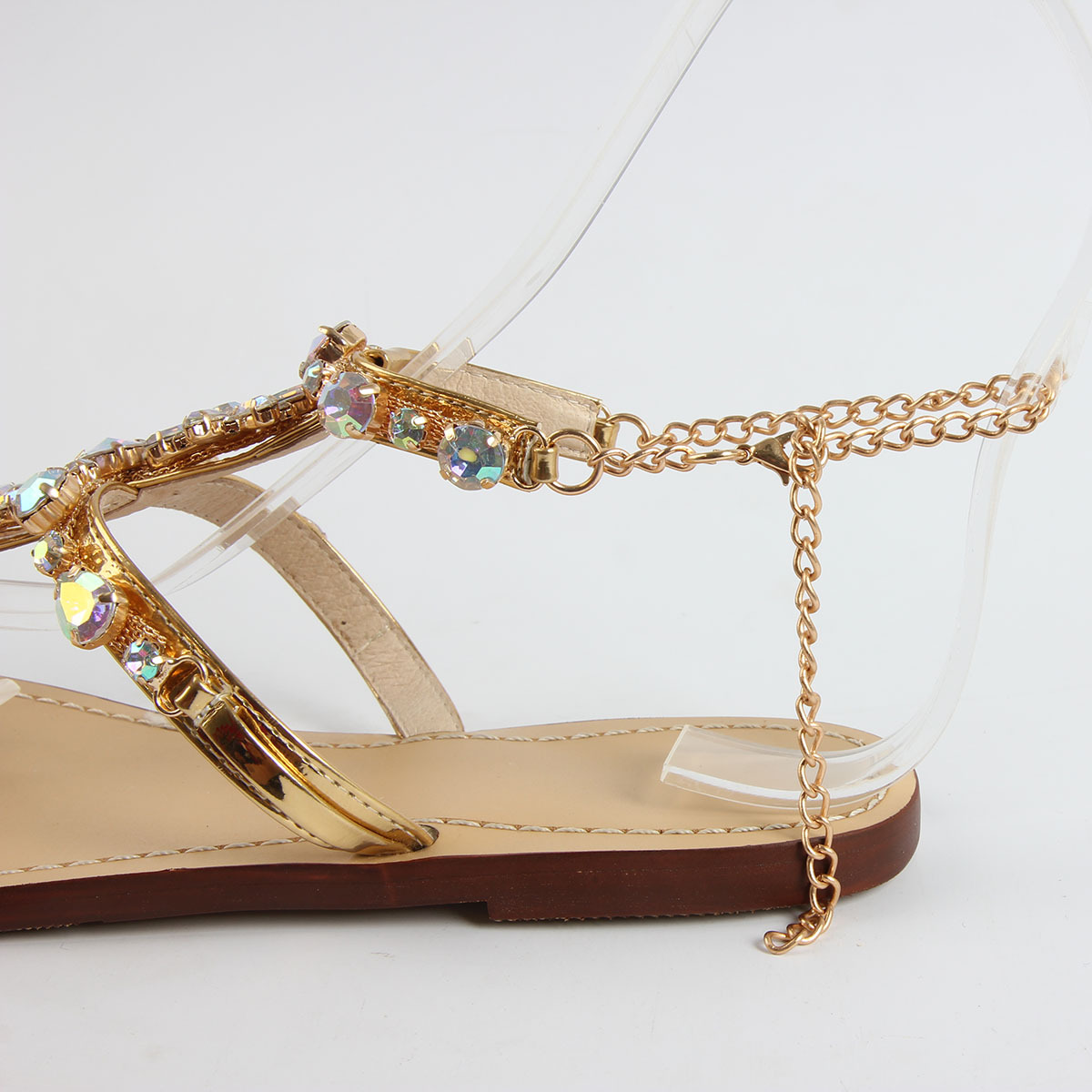 9d8383d1ce1e6 Woman Sandals Women Shoes Fashion Rhinestones Chains Thong Gladiator Flat  Sandals Crystal Chaussure Sandalias Mujer Plus Size 47-in Women s Sandals  from ...