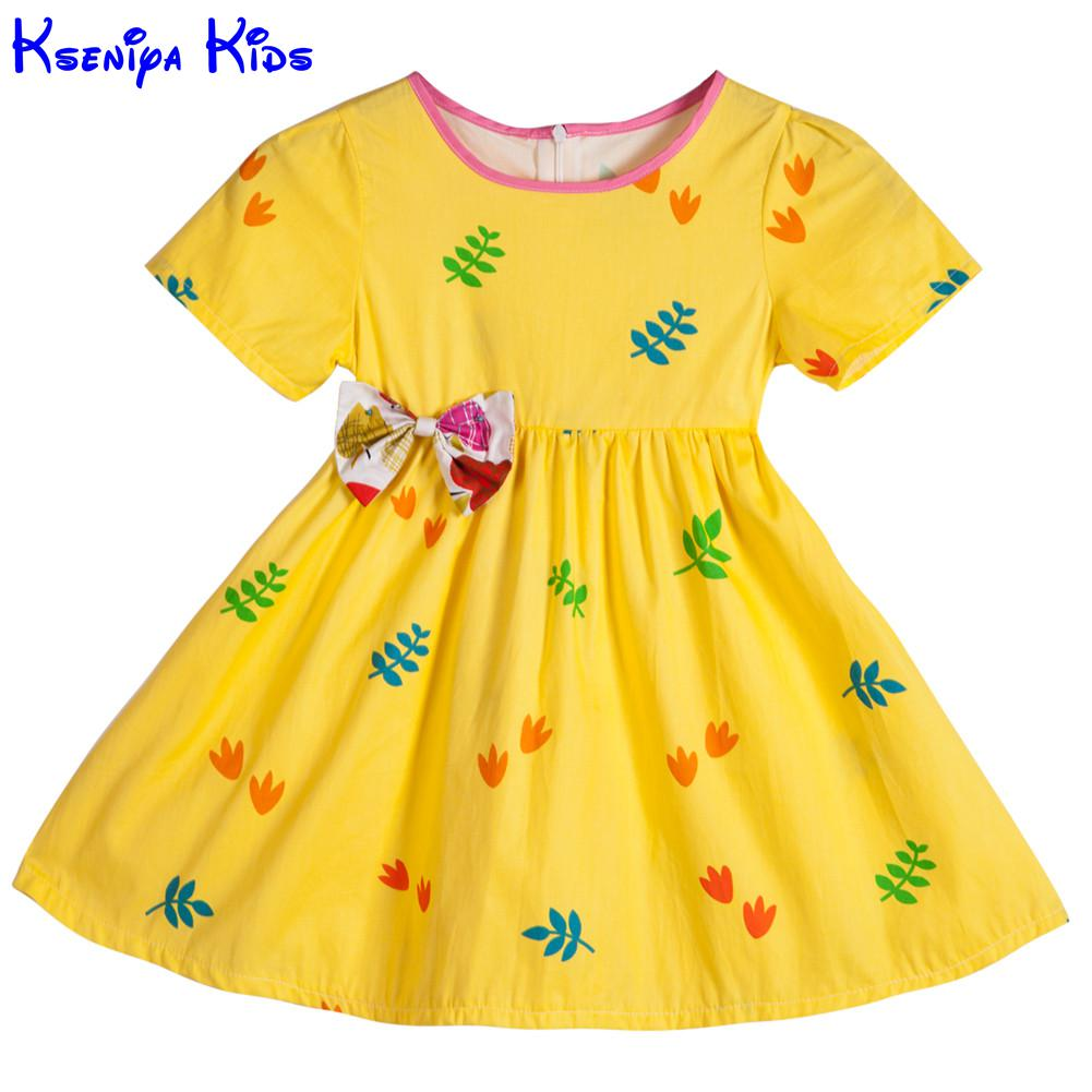 Kseniya kids cute short sleeve baby girl dress girl for Children s cotton dress fabric
