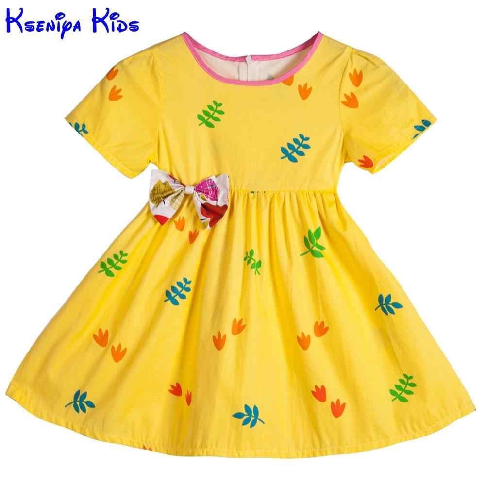b05d9d79232 Kseniya Kids Cute Short Sleeve Baby Girl Dress Girl Dresses Children  Clothes Cotton Fabric Yellow Summer