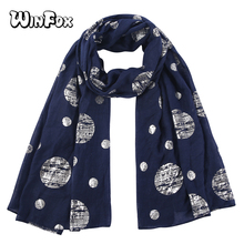 Winfox Navy Polka Dot Scarf Shawl For Women Ladies Autumn Soft Long Scarves and Wraps