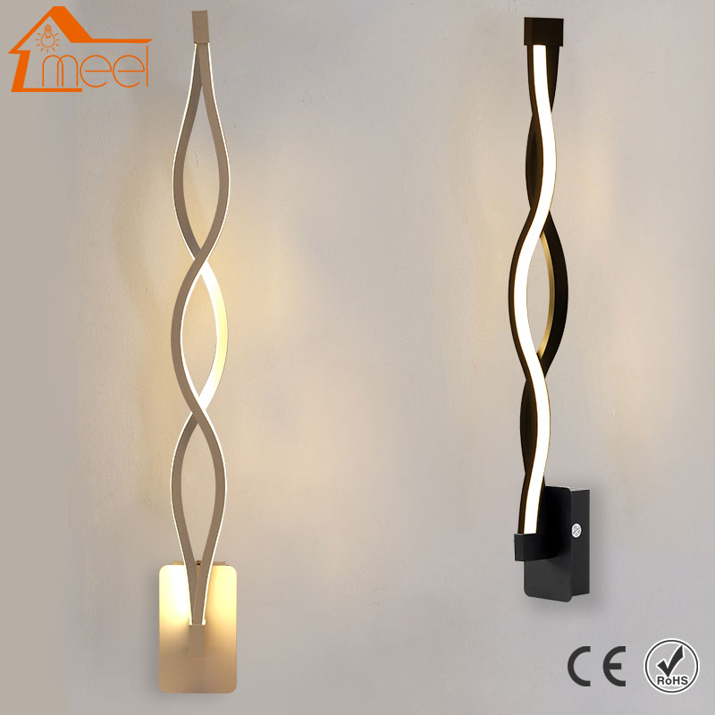Modern Minimalist Wall Lamp 16W 96V-260V Lampada Bedroom Beside Wall Light LED Sconce Black White Lamp Aisle Lighting Decoration