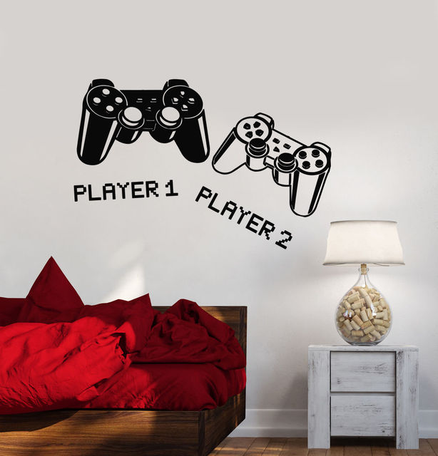2016 new fashion Wall Decal Playroom Joystick Video Game Gamer Vinyl Stickers free shipping